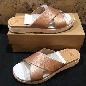 Ugg Kari Slides Sandals NEW Metallic Rose Gold